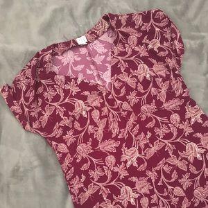 Deep V, Floral, Maroon Dress